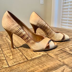 BCBGirls Snakeskin Peep Toe Pumps